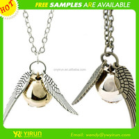 Fashion design cheap fake gold and silver link chain ball angle wing pendant necklace