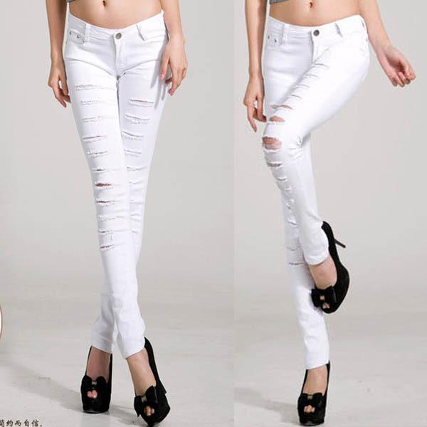 Wholesale Sexy Fashion Women Lady Punk Ripped Slit Jeans Slim ...