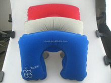 PVC flocking materail with silk logo promotional inflatable neck pillow