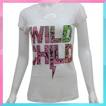 women wear cotton fashion ladies t-shirt with print design
