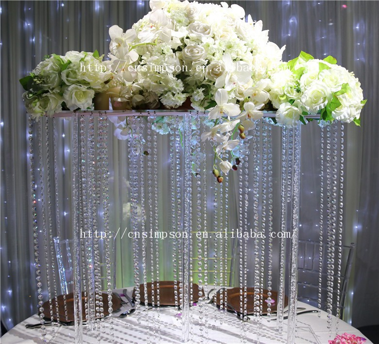 Tall Flower Centerpiece Stand : Tall square acrylic centerpiece crystal wedding flower stand