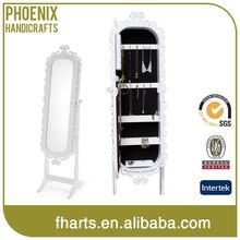 Super Quality Oem Production Top End Wood Jewelry Armoire With Lighted Dressing Mirror Simple Designs
