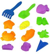 Children kinetic play sand 12 pieces Pack space cartoon beach sand on Mars moon magic sand plastic molds for kids random colors
