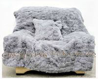 CX-D-30 Hotel Rugs Patchwork Real Rabbit Fur Blanket