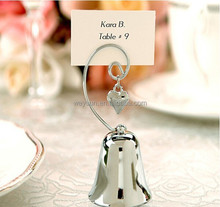 wedding favor and decoration--Charming Bell Place name Card/Photo Holder with Dangling Heart Charm party favor