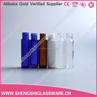 wholesale clear blue green white colored 10ml perfume roll on glass bottle