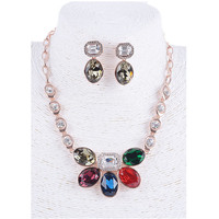 Hot trendy necklace and earrings sets wholesale fashion bridal rani haar jewelry set 2015