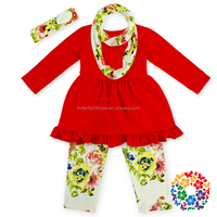 4pcs/set 2015 Lovely Cute fall colored boutique girl clothing, children clothes, fashion headband set for girls