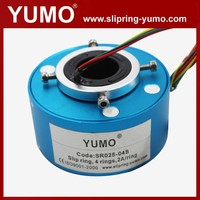 SR025 4 wires rotating connector carbon brush holder hole through bore slip ring three phase induction motor