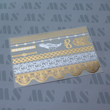 Water transfer Custom Flash Gold Metallic Tattoo for Body art