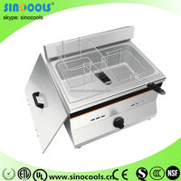 Large Capacity Commercial Double Basket Deep Fryer For Fried Chicken