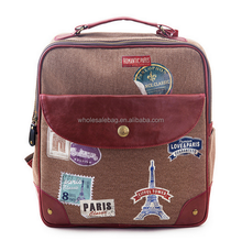 Fashion Minisize Customized Stamp Eiffel Tower Printing Canvas Satchel School Backpack Bag Knapsack For Girls Women Teenager