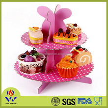 2 floors pink cake stand for party