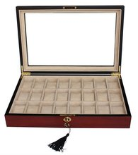 24 CHERRY WOOD ROSEWOOD WATCH DISPLAY CASE