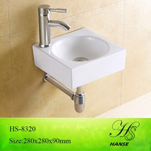HS-8320 bathroom above counter no hole ceramic wall hung basin