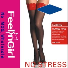 Fashion Black Sexy Lady Stocking Red Lace Support Stockings