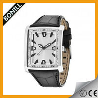 New Men's Black Dial White Number leather Band Sport Outdoor Square Case Quartz Wrist Watch