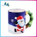 Navidad de papá noel pintado a mano tazas de cerámica