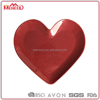 Cheap plastic ware from China candies dish glitter dark red melamine heart shape plate