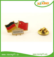 2014 manufacture metal gold country flag lapel pin