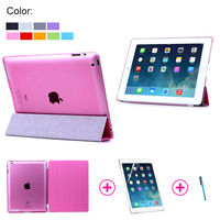 Slim PU Front PC Back Case Stand Cover For iPad 2 3 4 Smart Cover New 2015