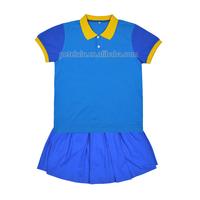 school girls uniform new style, school uniform 100% cotton t-shirt & skirt