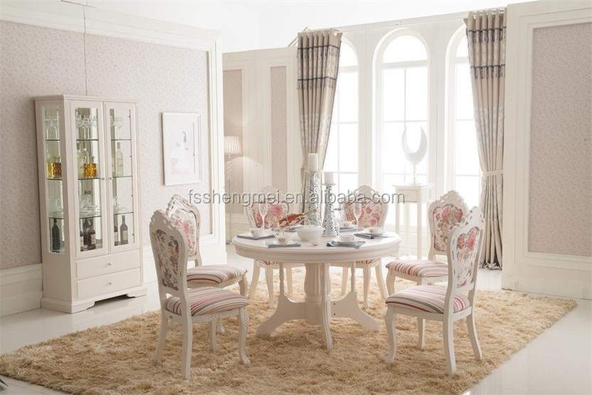 Luxury Living Room Furniture Round Dinning Table Solid Wood Chairs