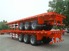 tri axle 40ft container flatbed semi trailer with supporting leg