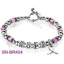 Fashion Hope Symbol Silver beads Breast Cancer Bracelet