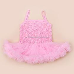 Lace Tutu Dress Cotton Summer Infant Ballet Ruffle Dress Baby Girl Sleeveless Vestido Rose Flower Lace Tutu Dress