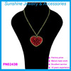 Hot sale love heart necklace red rhinestone pendant necklace