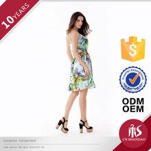 OEM Ladies Middle Waist Straps Embroidered Elastic Strappy Mini Vestidos De Fiesta Prom Dresses 2014
