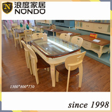 Wood dining table designs with glass top CZD009Z