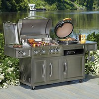 Gas Charcoal/Kamado 2-in-1Combo Combination Hybird Rotisserie BBQ Barbecue Grills for Backyard Outdoor Kitchen Cooking