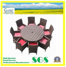 Venta al por mayor precio ronda mesa de comedor y sillas Rattan de exterior muebles