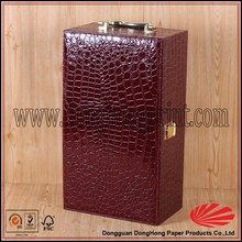 Fashionable alligator grain two bottles faux leather wine carrier