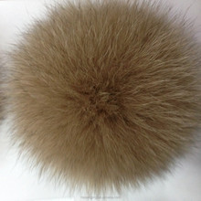 Fashion real long hair dyed brown fox fur ball for keychain