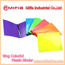 Bright Colorful PP a4 plastic presentation 3 RING BINDERS for office statioenry filing document