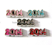 Floating charms, single sided number charm, 2014 year charm