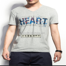 high quality dri-fit V-Neck short sleeve popular mens screen printing cotton t-shirts