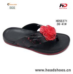 Latest design EVA wide strap women casual slipper lady flower decoration flip flop
