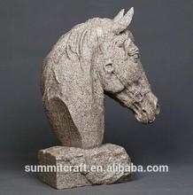 Venda quente imitação rocha areia pedra resina cabeça de cavalo escultura