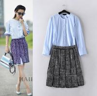 High Quality Fashion New Celebrity Inspired 2015 Autumn Clothes Set Women Solid Tops Long Shirts+Pleated Plaid Wool Skirt(1Set)