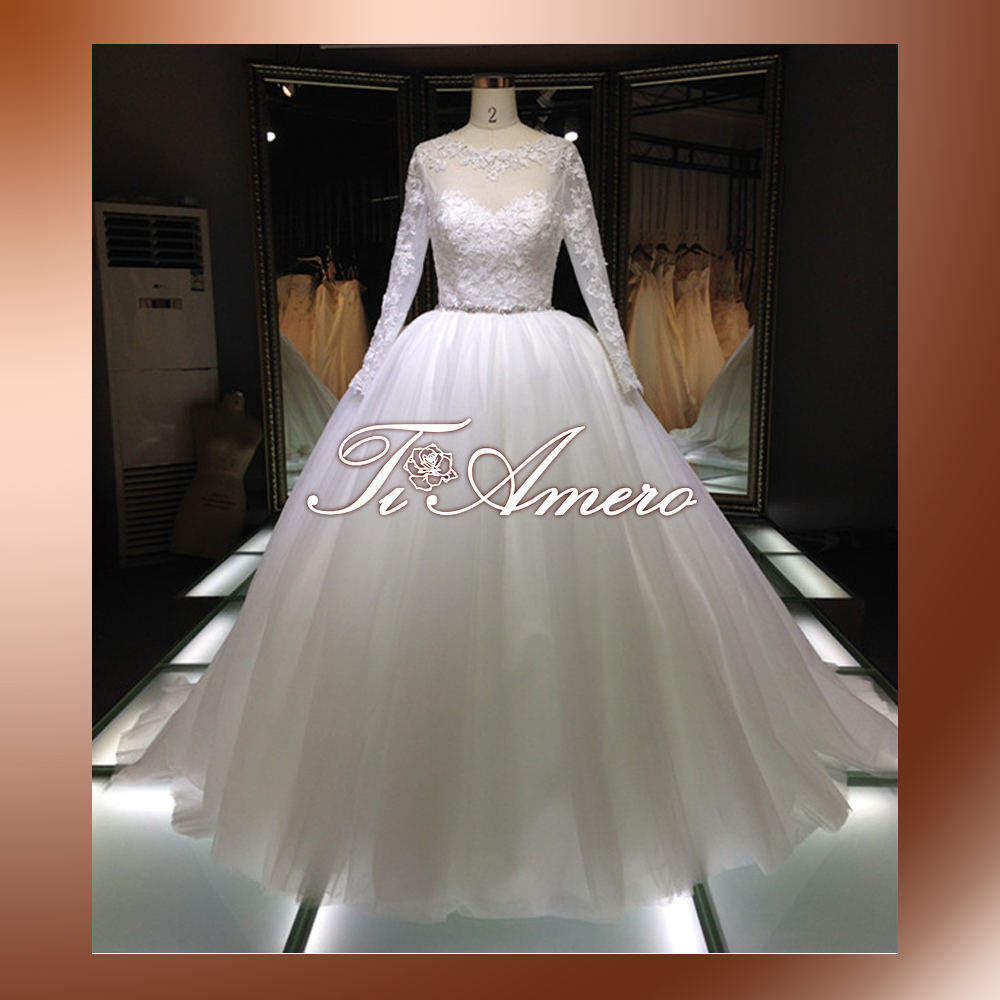 White satin diamond sash appliqued puffy ball gown lace for Puffy wedding dresses with diamonds