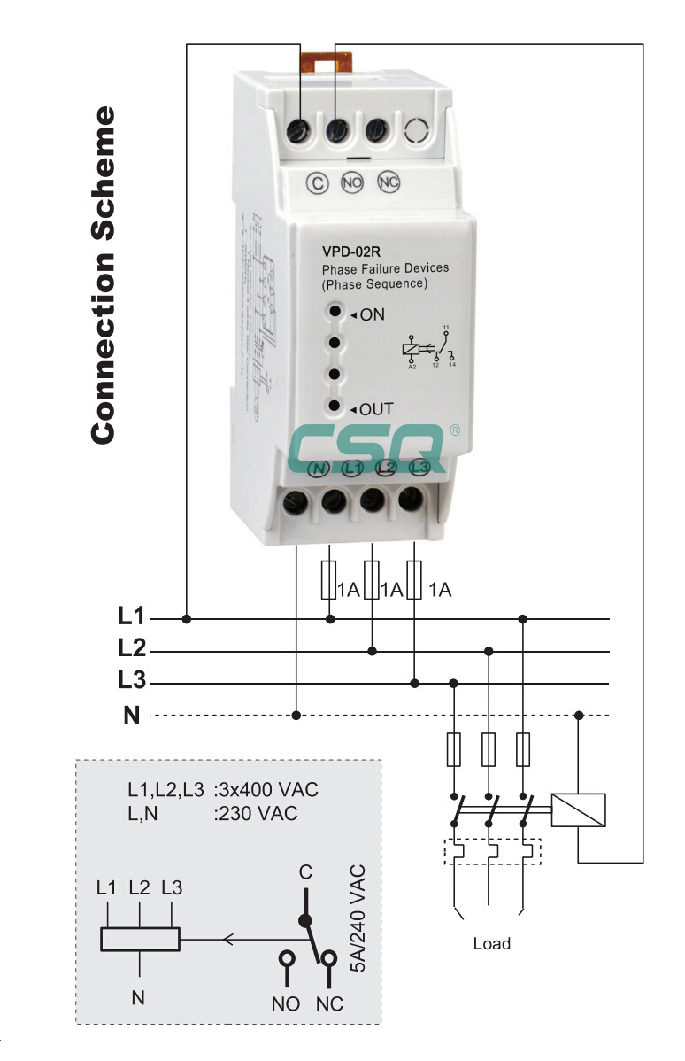Vdp-02r 220v Phase Failure And Sequence Relay