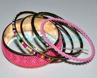 gold plated hot sale pink color multiple bangle set