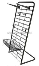 Black Metal Slatgrid Floor Stands,Display Rack L Shaped Construction Black