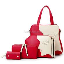 fashion girl face synthetic leather handbag, 4 pcs in 1set, clutch bag, purse, key bag, handbag