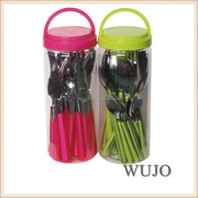 16pcs plastic handle flatware set with PP basket