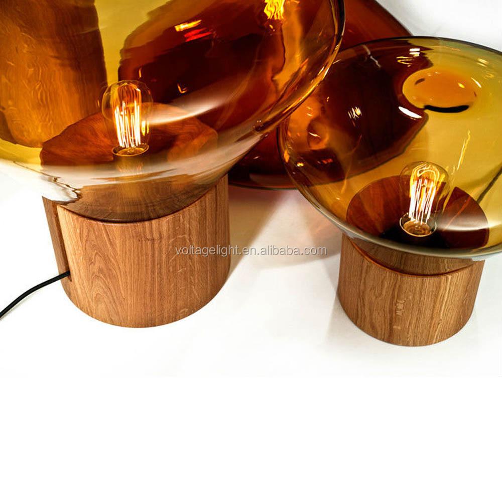 moderno legno vetro muffin lampada da terra con edison lampadina ...